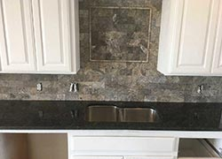 Oklahoma granite kitchen white cabinets Dark Granite travertine backsplash - Shawnee Shawnee